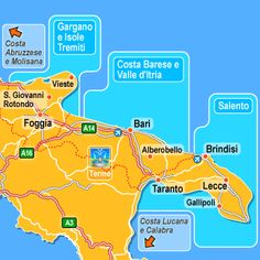 Slow Travel Website - useful info on Puglia restaurants.     Map of the Puglia Coast, from Venere