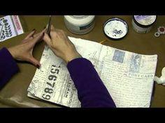 Altering Tim Holtz Large Folio - Prima Resist Canvas, Sprays, Stencils - Part 13 - YouTube
