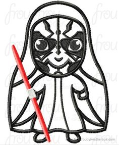 Dark Maul Little Space Wars Cutie Machine Applique Embroidery Design, multiple sizes, including 4 inch