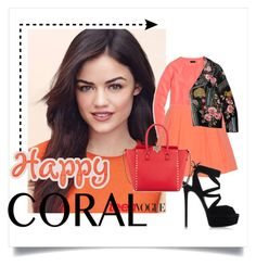 """""""happy coral ^^"""" by paulamayaya ❤ liked on Polyvore featuring мода, J.Crew, Alice + Olivia, Casadei, Gucci, Valentino, women's clothing, women, female и woman"""
