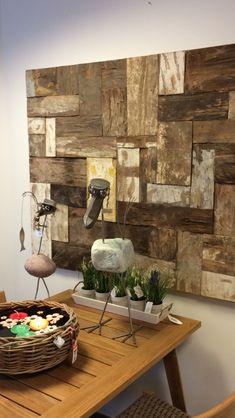 Schilderij geplakt met houten blokjes in diverse afmetingen, genereert ook een mooie 3d effect