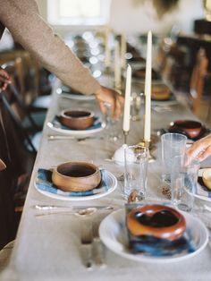 Wooden bowls + flannel napkins