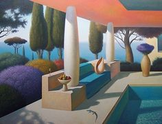 Under the red roof 40x52 by Evgeni Gordiets Oil ~  x
