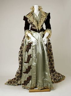 Dress House of Worth  (French, 1858–1956) Designer: Charles Frederick Worth (French (born England), Bourne 1825–1895 Paris) Date: 1880s Culture: French Medium: silk Dimensions: (a) Length at CB: 21 in. (53.3 cm) (b) Length at CB: 69 in. (175.3 cm) Credit Line: Gift of Mrs. Henry A. Lozier, 1948