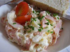 Okapaný celer překrájíme, přidáme nahrubo strouhané vejce, nakrájenou cibuli, salám nakrájený na proužky, majonézu, osolíme, opepříme a... Aesthetic Food, Baked Potato, Risotto, Potato Salad, Salads, Appetizers, Food And Drink, Chicken, Ethnic Recipes