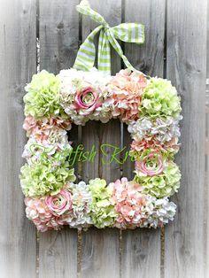 Square Hydrangea Wreath Spring Wreath Pastel Wreath Summer