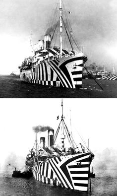 Dazzle Camouflaged Duo by Norman Wilkinson Outdoor Activities For Adults, British Marine, Dazzle Camouflage, Razzle Dazzle, Navy Ships, War Machine, World War I, Op Art, Titanic