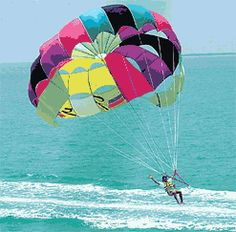 go parasailing!  I ACTUALLY LANDED ON A WOODEN PLATFORM OUT IN THE WATER..