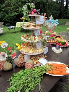 Peter Rabbit themed baby shower, finger foods treats...don't forget the carrots!