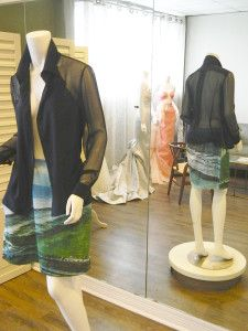 Orlando Blouse in sky and silk chiffon  Venice Skirt in Galveston Print and Organic Cotton Paris Blouse in midnight and silk chiffon Tailoring your style with David Peck http://playhardplaybook.com/tailoring-your-style-with-david-peck/