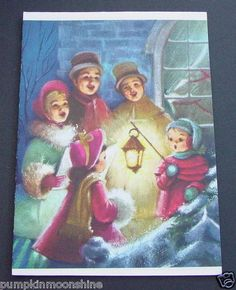 F533 Vintage Unused Xmas Greeting Card Pretty Winter Image of Holiday Carolers | eBay