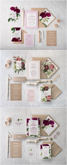 Botanical wedding invitations with calligraphy printing with touch of vintage feeling. Perfect for rustic weddings #handmade