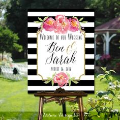 Wedding Welcome Sign Printable // PRINTABLE DIY Large Custom Wedding Sign // Welcome Wedding Sign // Black & White Stripe Floral // DIGITAL by DeluxeDesignCo on Etsy