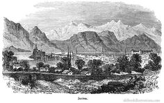 Illustration showing Ioannina, a city of Epirus, north-western Greece, founded in the century by the Byzantine emperor Justinian I. In 1789 the city became the centre of the territory ruled by Ali Pasha Old Books, Book Illustrations, Albania, Byzantine, Greece, Tapestry, Paintings, History, Historia