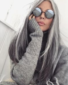 HOME & GARDEN: 48 inspirations and ideas for gray hair hairstyleYou can find Long gray hair and more on our website.HOME & GARDEN: 48 inspirations and ideas for gray hai. Long Gray Hair, Silver Grey Hair, White Hair, Grey Hair Inspiration, Great Hair, Hair Today, My Hair, Cool Hairstyles, Scene Hairstyles