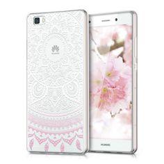 kwmobile Funda TPU silicona transparente para Huawei P8 Lite en rosa claro blanco transparente Diseño sol indio