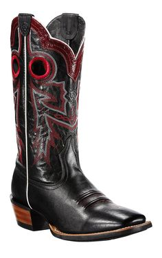 Ariat Wildstock Men's Black with Red Stitch Double Welt Square Toe Cowboy Boots