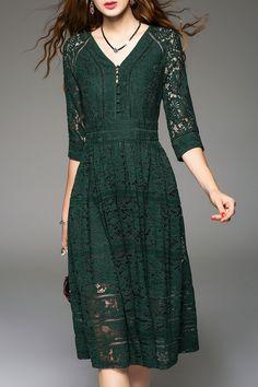 Sweetsmile Blackish Green Knee Length Lace Dress | Knee Length Dresses at DEZZAL