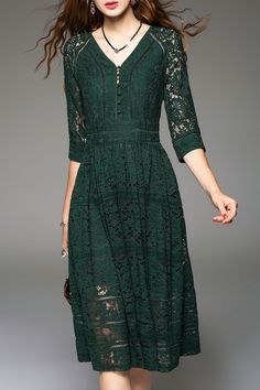 Sweetsmile Blackish Green Knee Length Lace Dress | Knee Length Dresses at DEZZAL