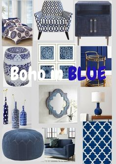 A collection of great accent pieces in boho style all in BLUE ! Pretty little things that make me happy! #bohodecor #bluedecor #bohoinblue #bohemianhome. #ShopStyle #shopthelook #SummerStyle #MyShopStyle