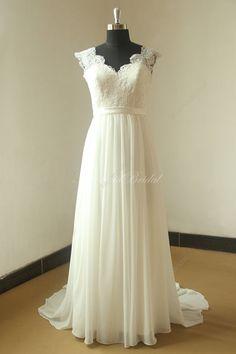 Abierto nuevo gasa vestido de novia escote v por MermaidBridal
