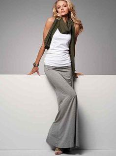 Khaki scarf white t-shirt gray maxi skirt. Simple style women fashion clothing @roressclothes apparel closet ideas ladies outfit