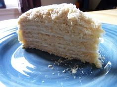Russian Layer Cake  Adapted from http://www.russianrecipes.co.nz/recipes/dessert-medovie.html Ingredients Cream Filling 2 1/4 sticks unsalted butter 14 oz organic sweetened condensed milk. 8 oz organic sour cream. Cake 4 cups all-purpose flour 2 eggs 1/2 cup local honey 1/2 cup raw sugar 3/4 stick unsalted butter 1 tsp baking soda. 8 inch round baking pan