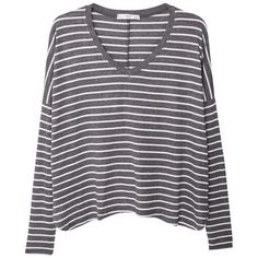 Mango Stripe Patterned Tee, Dark Grey found on Polyvore featuring tops, t-shirts, clothes - tops, striped t shirt, striped v neck t shirt, v neck tee, stripe t shirt and long sleeve tops
