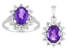 3.08ctw Oval African Amethyst And 1.32ctw Round White Topaz, Sterling Silver Ring And Pendant Set - VMH104 - JTV.com®