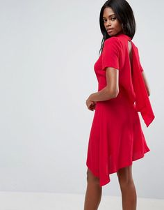 ASOS Mini Tea Dress With Open Back - Red