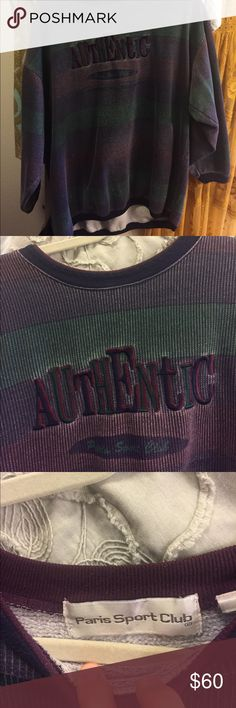 Sale!🦋Authentic Sweatshirt Vintage Dark Striped sweatshirt bought off of Etsy. Never worn, it just isn't my style. Offers are welcome but I bought this for 60$, and since posh takes so much away I kind of want to keep this firm, but I'll be open minded to any offers. Really cool sweatshirt if this is your style. Tops Sweatshirts & Hoodies