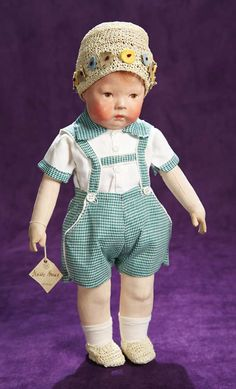 """Fine All-Original German Cloth Character,Type I,by Kathe Kruse 17"""" (43 cm.) All-cloth doll with pressed and oil-painted facial features and ..."""