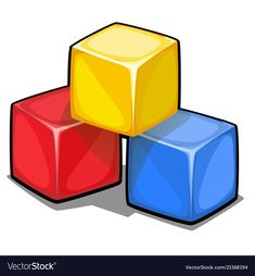 A stack of three plastic colored cubes isolated on vector image on VectorStock Toddler Learning Activities, Math Activities, Pencil Png, Diy Fabric Jewellery, Cartoon Download, Brown Blazer, Pin On, Gumball Machine, Hand Embroidery Designs