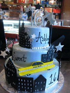 sweet 16 decorations nyc stle | New York City Sweet 16 Cake
