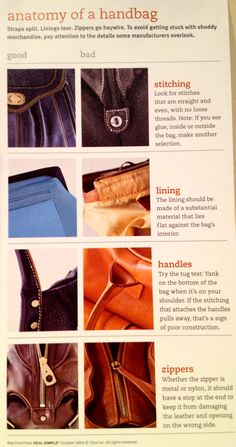 Anatomy of a Handbag - Tips for shopping | Real Simple
