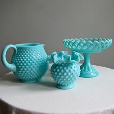 Turquoise Blue Milk Glass Compote Footed by BarkingSandsVintage