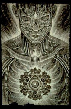Invocation and Prayer ☽ Navigating the Mystery ☽ Mystic Eye by Alex Grey Tatuagem Alex Grey, Alex Grey Tattoo, Statues, Alex Gray Art, Tenacious D, Mystic Eye, Spiritus, Visionary Art, Spirituality