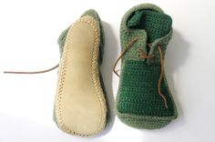 crocheted shoes