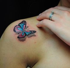 3D butterfly tattoo 48 - 65 3D butterfly tattoos  <3 <3