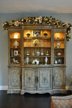 China Cabinet Hallway DecorationsKitchen DecorationsChristmas DecorationsDecor IdeasDecorating A HutchHoliday DecoratingHome ToursRustic