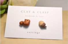 Squirrel & Acorn earrings off of Etsy user : Clay and Clasp