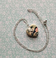Vintage Sparrow Heart Locket on Silver Chain  by TheBlueDodo