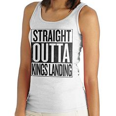 Straight Outta Kings Landing Game of Thrones Women's Vest. Women's Vest. PLEASE USE OUR SIZE GUIDE IN THE IMAGE GALLERY. High quality, branded product. Professionally printed using the latest and best digital print technology. No cheap and nasty iron on transfers used! We only use the best quality environmentally friendly printing industry standard inks.