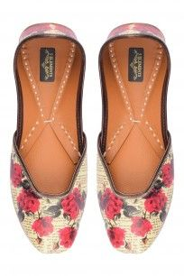 Biege And Red Floral Printed Juttis #clothes #5elements #designer #shopnow #happyshopping