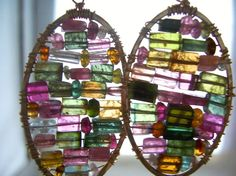 Watermelon Tourmaline Stained Glass Mosaic by dnajewelrydesigns