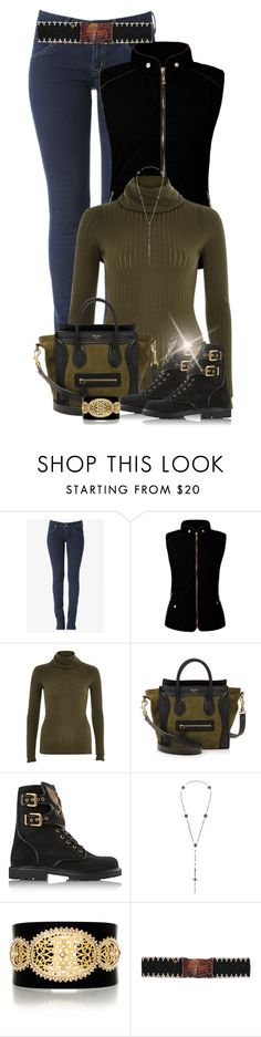 """* Eagle Rangers * BALMAIN"" by hrfost1210 ❤ liked on Polyvore featuring Hudson Jeans, River Island, CÉLINE, Balmain, Pamela Love, LK Designs, Cocobelle, Boots, balmain and quiltedvest"