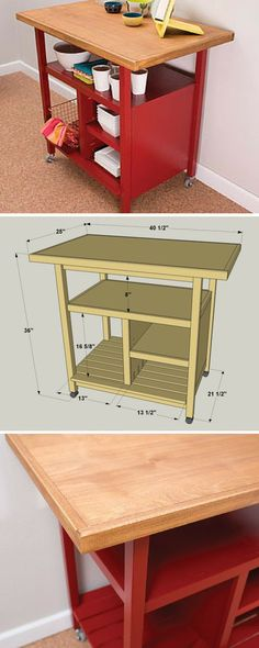 This kitchen cart offers a large work space plus ample storage. Plus, the cart sits on casters, so you can roll it where you want it, and easily move it out of the way. Whether you use it as an island (Diy Storage Cart) Diy Furniture, Diy Table, Diy Storage, Diy Kitchen Storage, Diy Kitchen Cart, Wood Diy, Kitchen Island Storage, Diy Kitchen, Diy Plans