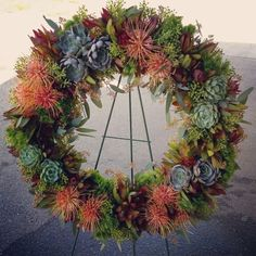 Succulent and protea fresh floral door wreath http://www.ocfleurish.com