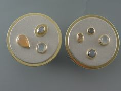 EARRING - STERLING SILVER, 18KT, PEACH, GREY AND WHITE MOONSTONES