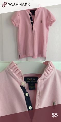 Pink Ralph Lauren  Polo Size 4t Pink Pique Polo with ruffle color Ralph Lauren Shirts & Tops Polos